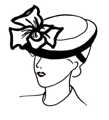 Drawn hat womens hat Hat line 1930s · drawing