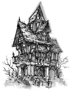 Drawn haunted house Buildings  Work for Animals