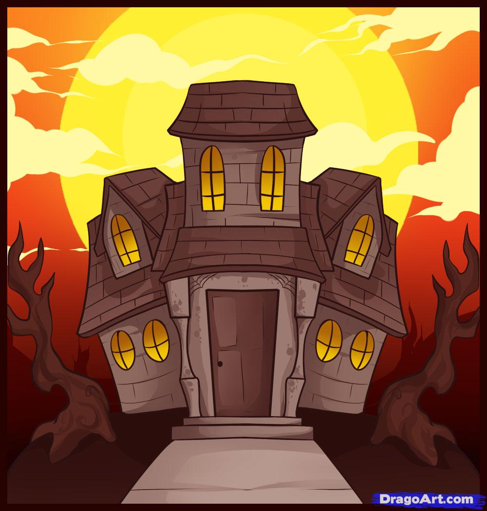 Drawn haunted house Halloween Step house by to