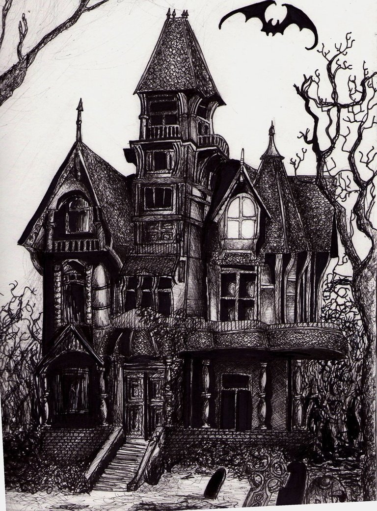 Drawn haunted house DRAWING chimney with with DRAWING