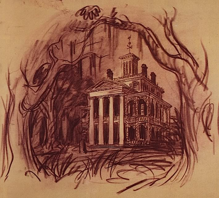 Drawn haunted house abandoned house Centre was Imagineer 1958