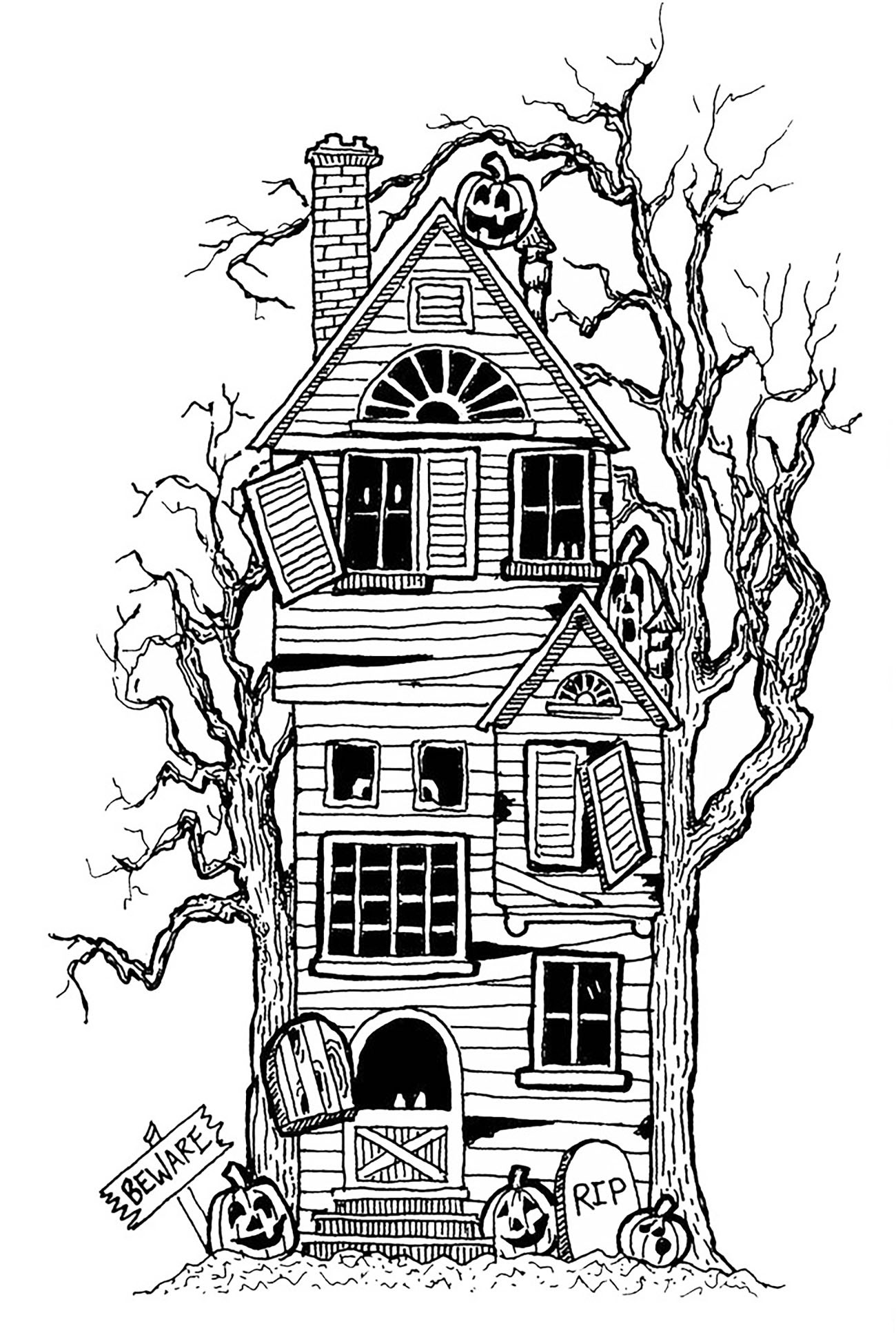 Drawn haunted house big house Halloween house adults Coloring haunted