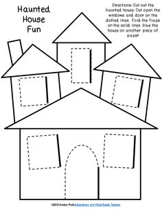 Drawn haunted house big house Lift template out flap houses