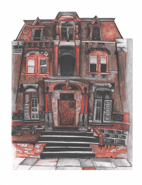 Drawn house ghost house House Halloween house charcoal haunted