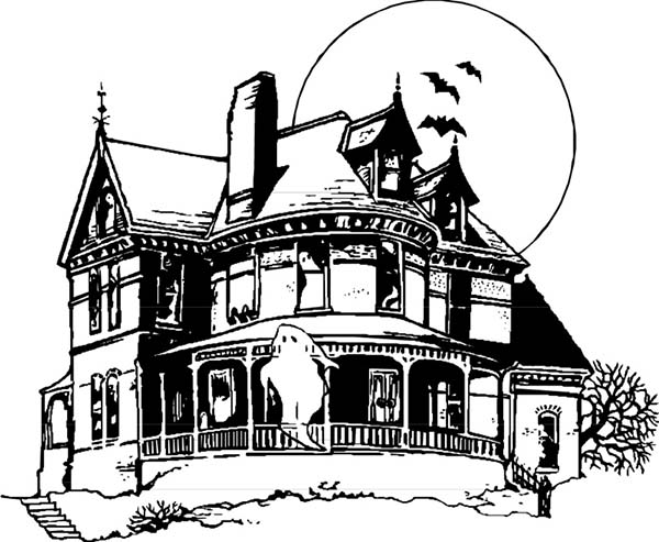 Drawn haunted house coloring page House Beautiful Haunted House House