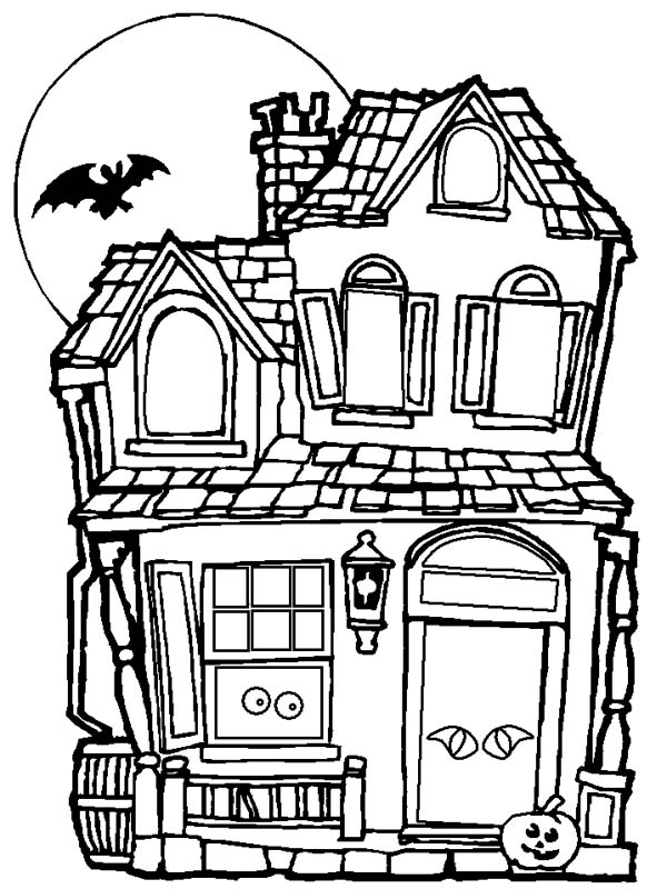 Drawn haunted house coloring page Halloween Haunted  Coloring Haunted