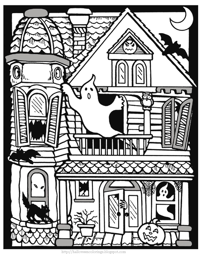 Drawn haunted house coloring page House coloring haunted avedasenses free