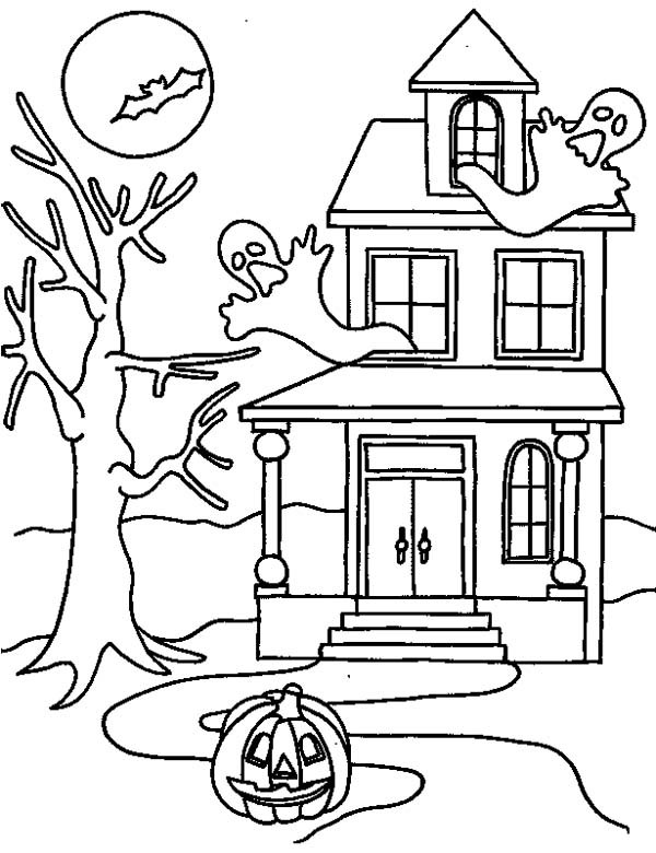 Drawn haunted house coloring page House coloring Haunted in coloring