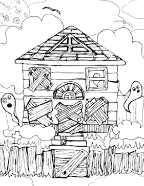 Drawn haunted house coloring page Haunted_House_Coloring_Page png