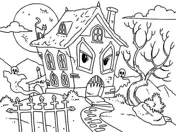 Drawn haunted house coloring page Of Haunted Pictuure Pictuure Coloring