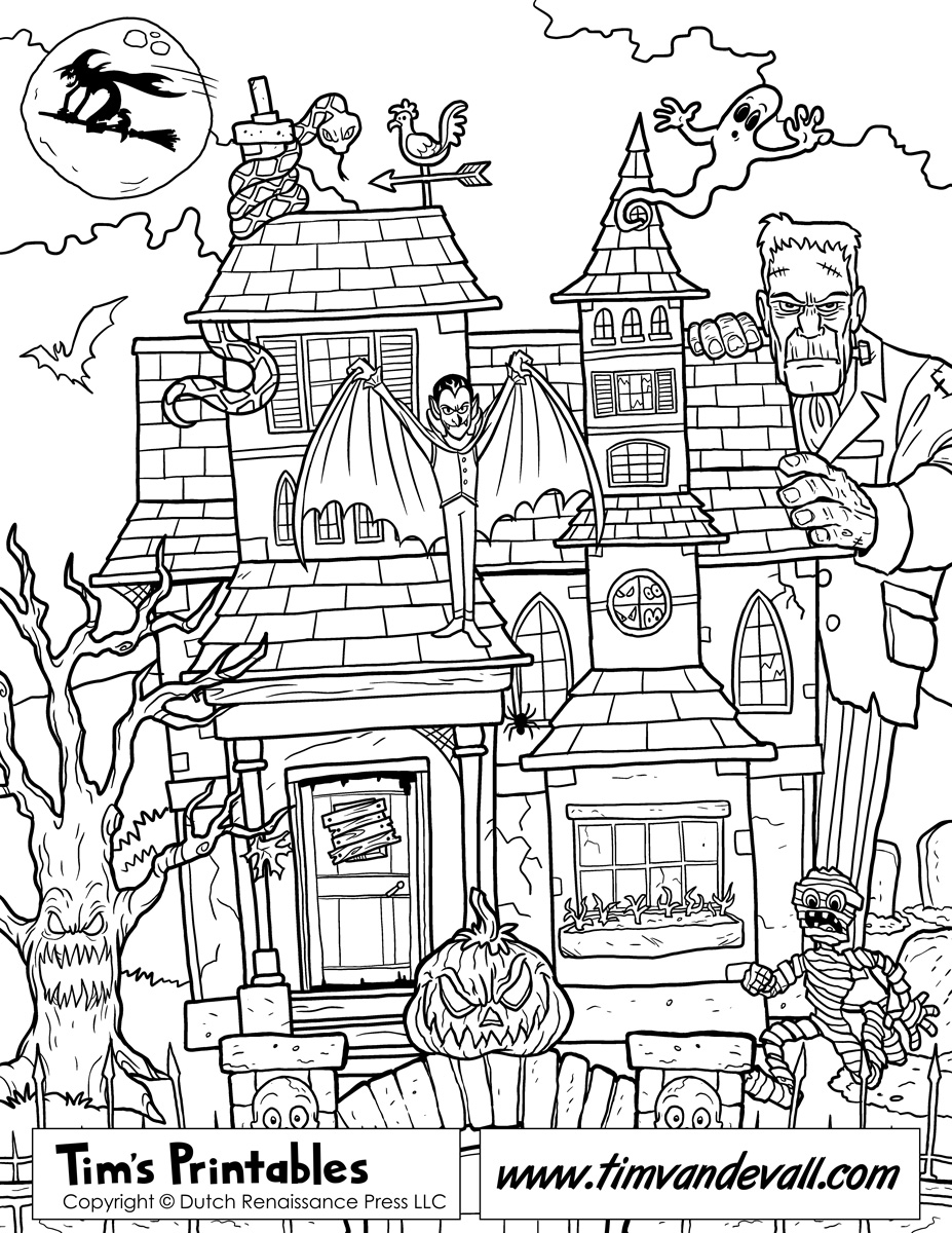 Drawn haunted house coloring page House Coloring Haunted Printable Page