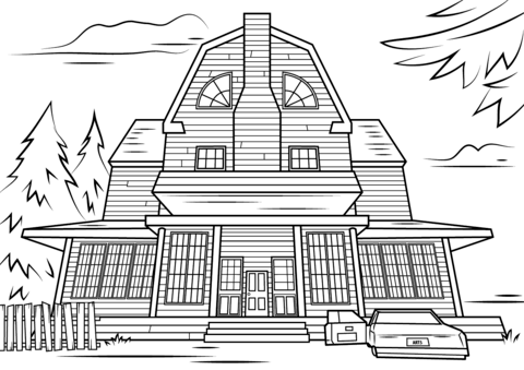 Drawn haunted house coloring page To see Click Free version