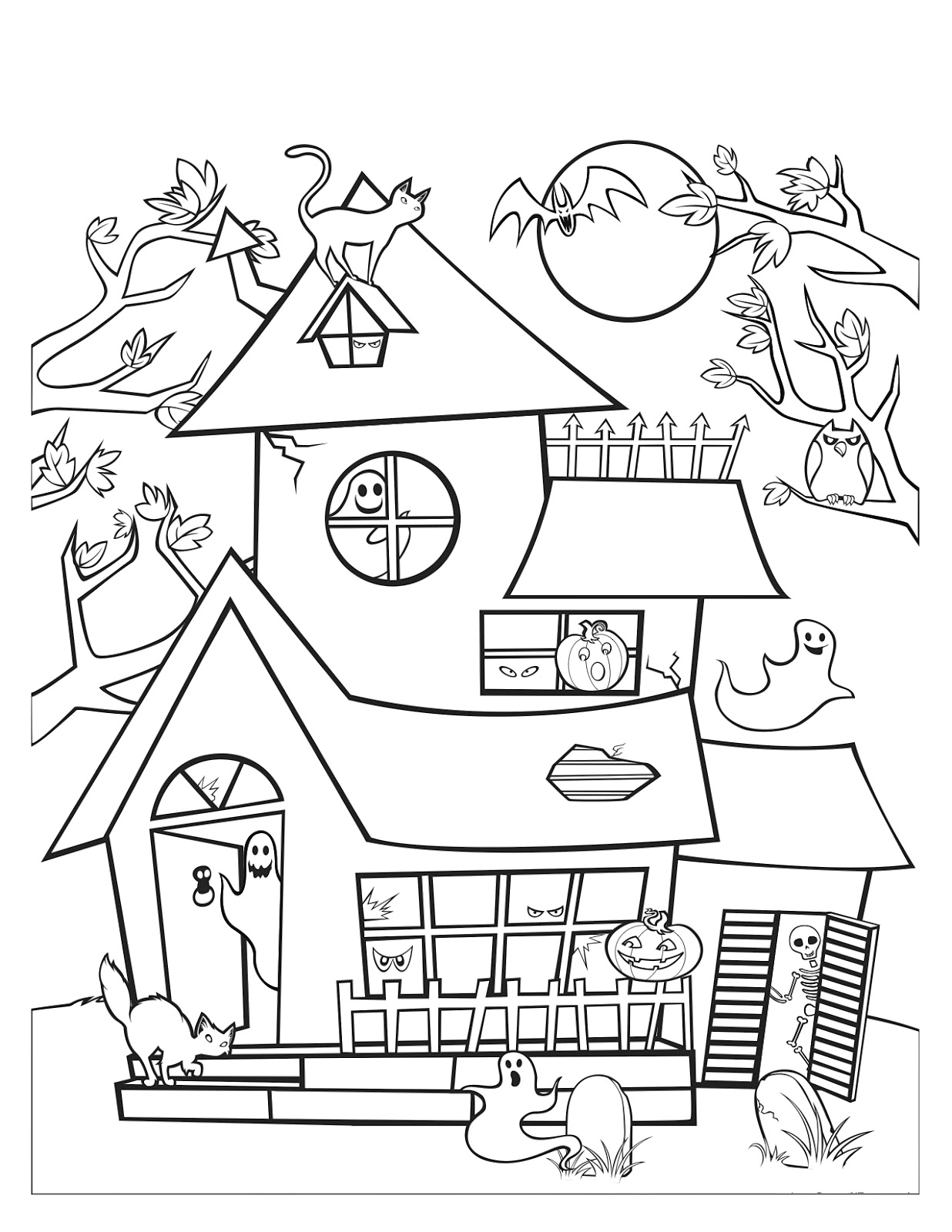 Drawn haunted house coloring page Halloween  Haunted Free How