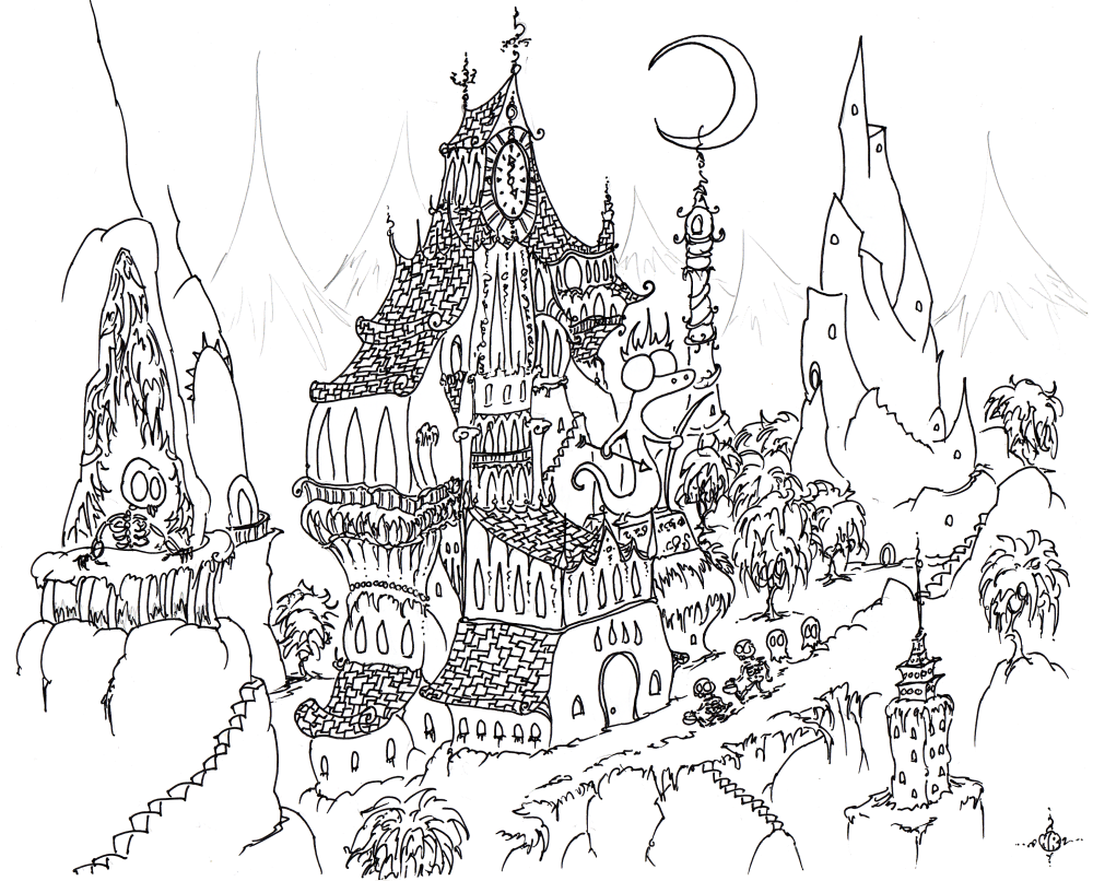 Drawn haunted house coloring page To Color Houses Print Print