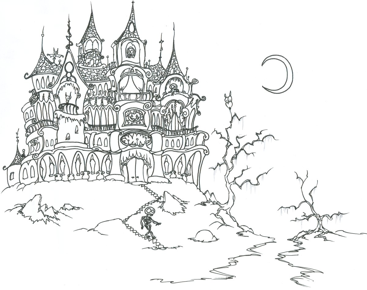 Drawn haunted house coloring page Vampire Coloring Adult Coloring Printable