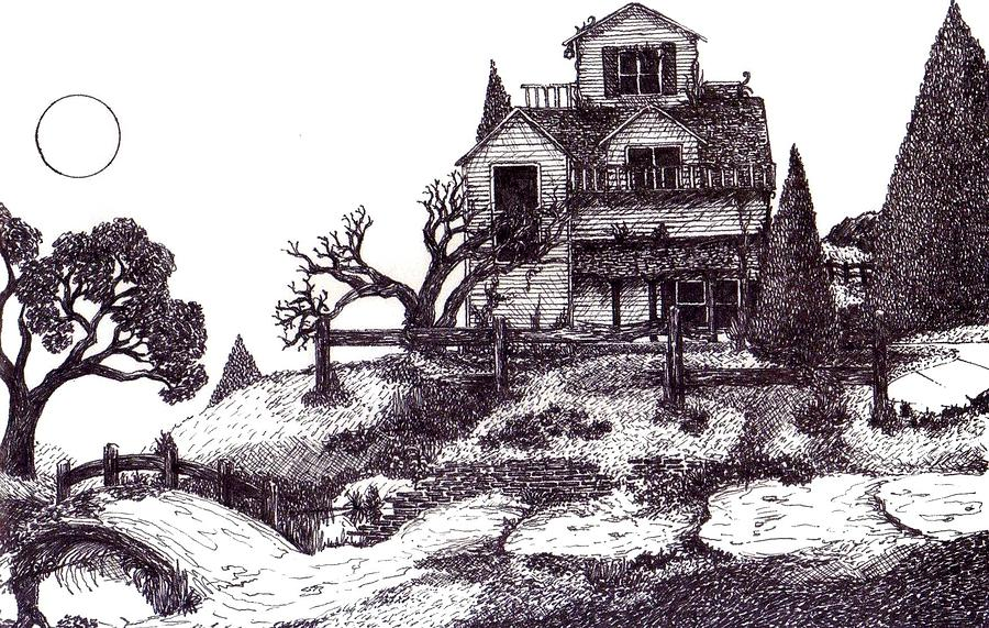 Drawn haunted house creepy house The Haunted Drawing Joella The