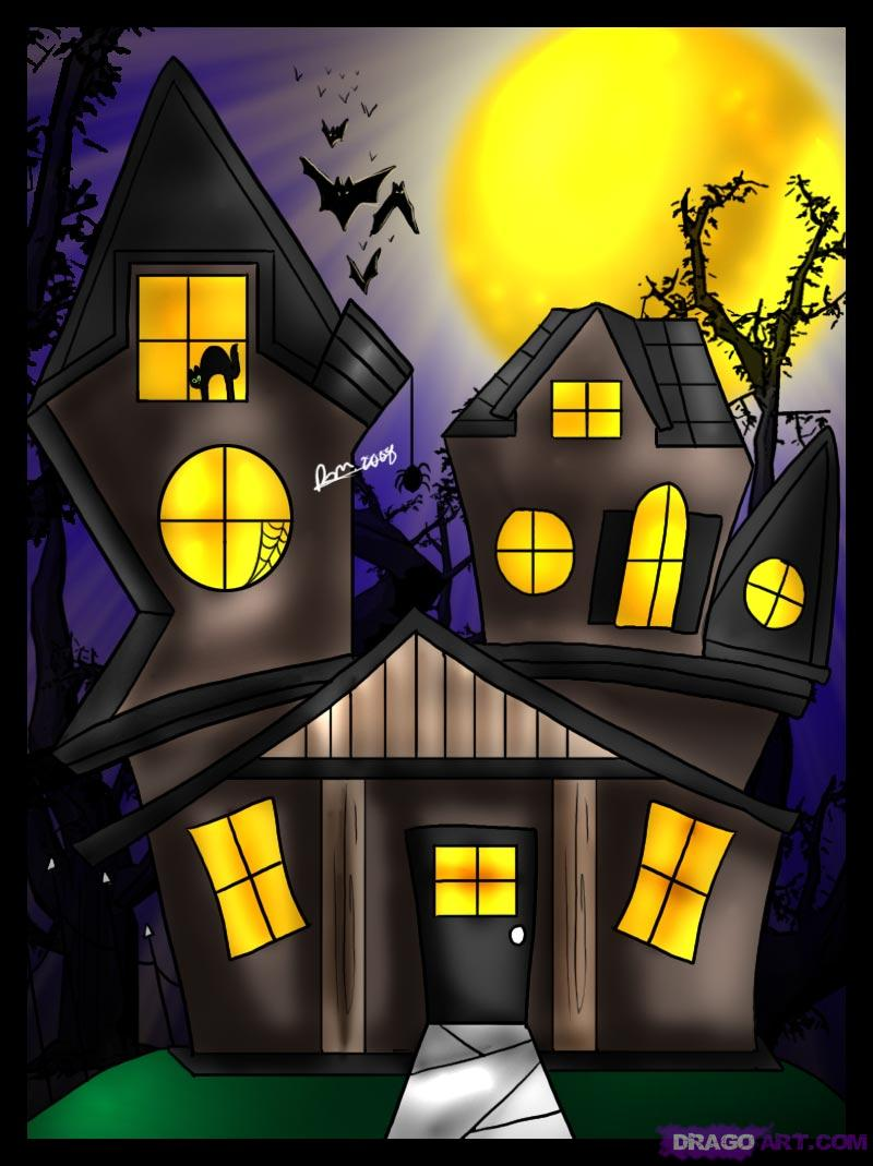 Drawn haunted house creepy house Draw a Spooky Step to