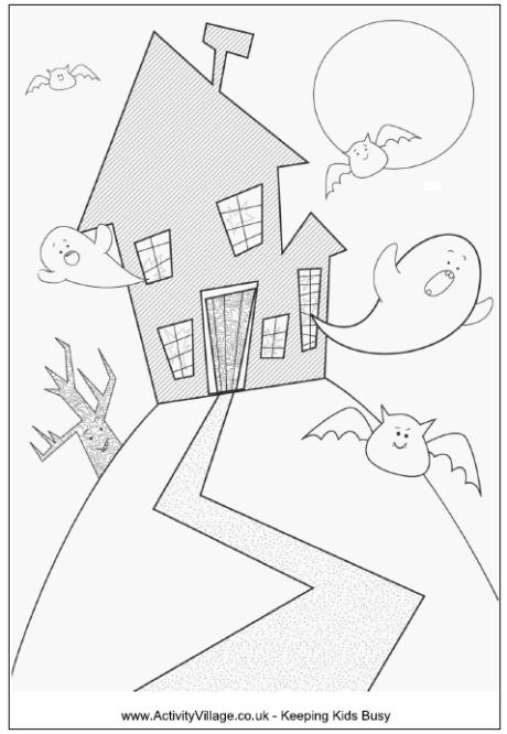 Drawn haunted house easy draw Page Younger Pages Kids ·