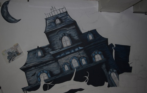 Drawn haunted house easy draw [Archive]  House Mural Haunted