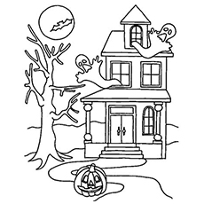 Drawn haunted house geometric Coloring Printable House Top haunted