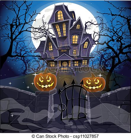 Drawn haunted house ghost house Vector cozy haunted Happy of
