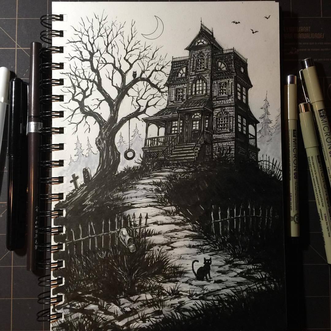 Drawn haunted house ghost house #inktober2015 #inktober Haunted 17: