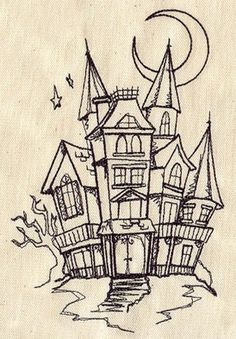 Drawn house ghost house Haunted House Haunted Step Halloween