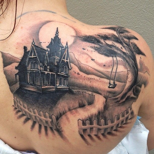 Drawn haunted house haus Pin great House Tattoo on