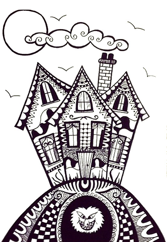 Drawn haunted house haus Pages Pinterest coloring houses activities