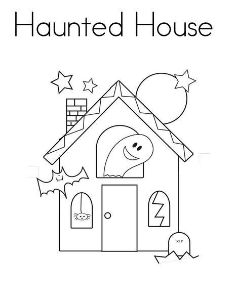 Drawn haunted house kid Halloween Coloring For Preschoolers Scary