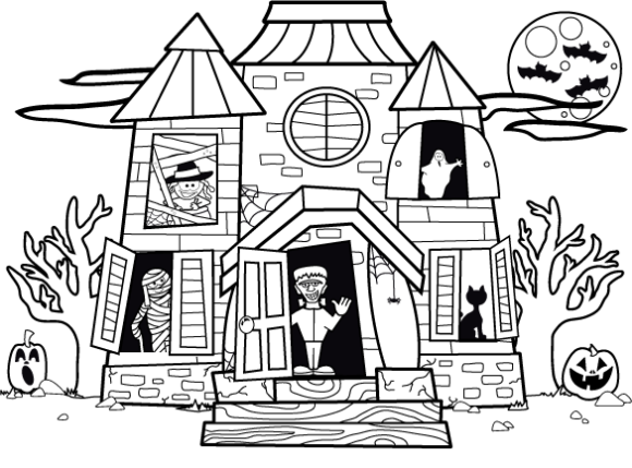 Drawn haunted house kid Haunted Coloring within Halloween House