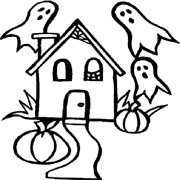 Drawn haunted house kid Haunted Free Clipart Page Coloring