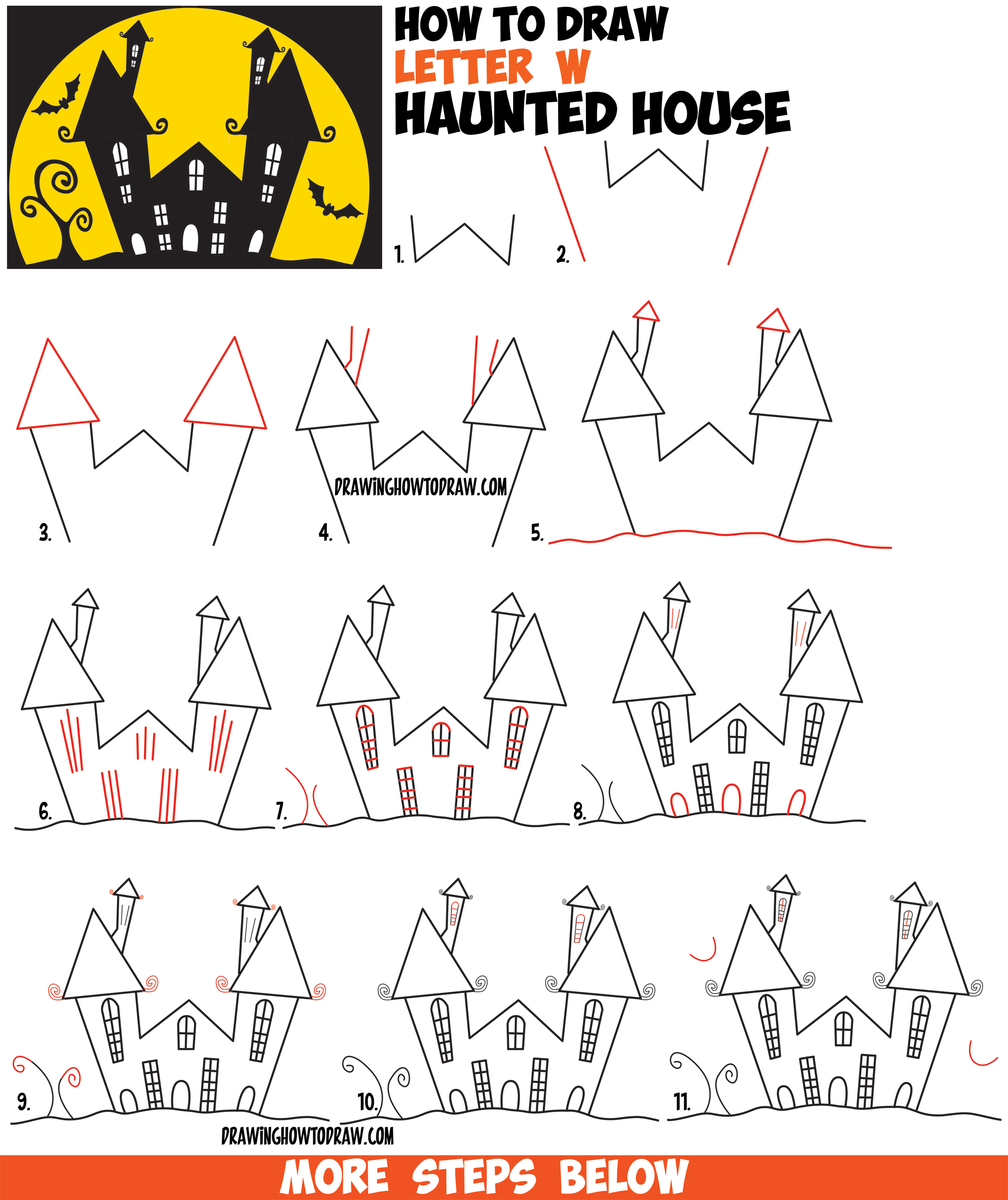Drawn haunted house line drawing simple Draw to Step Haunted Cartoon