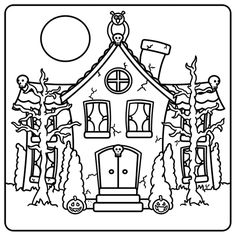 Drawn haunted house line drawing simple Idea house pumpkin onto house
