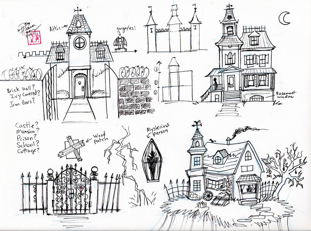 Drawn haunted house line drawing simple Haunted a Draw Diana House
