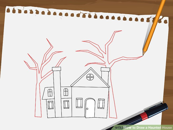 Drawn haunted house line drawing simple Draw titled 14 House Draw