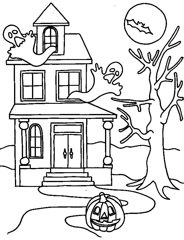 Drawn haunted house line drawing simple Pages coloring Coloring » best