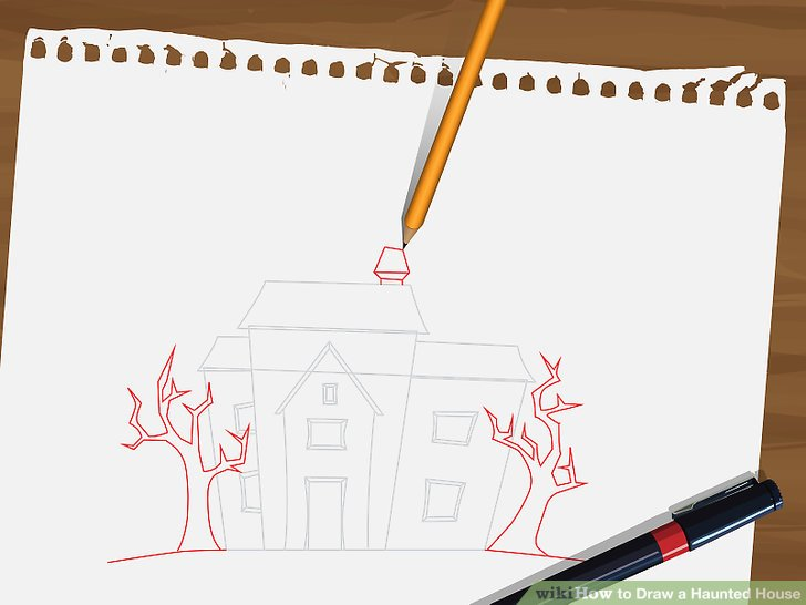 Drawn haunted house line drawing simple Draw titled 5 House Draw