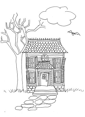 Drawn haunted house line drawing simple Step by a Lesson Lesson