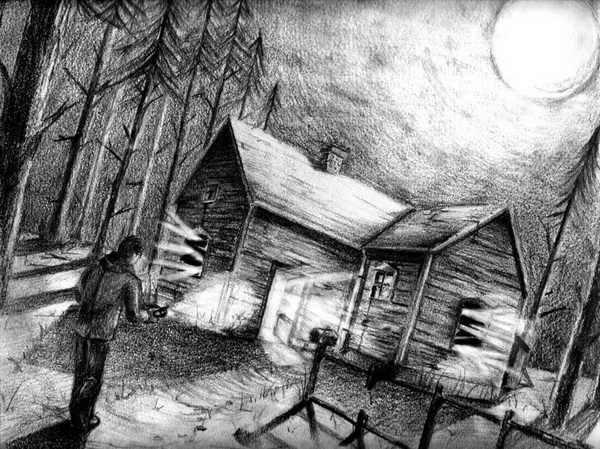 Drawn room haunted Pencil House for drawing 10+