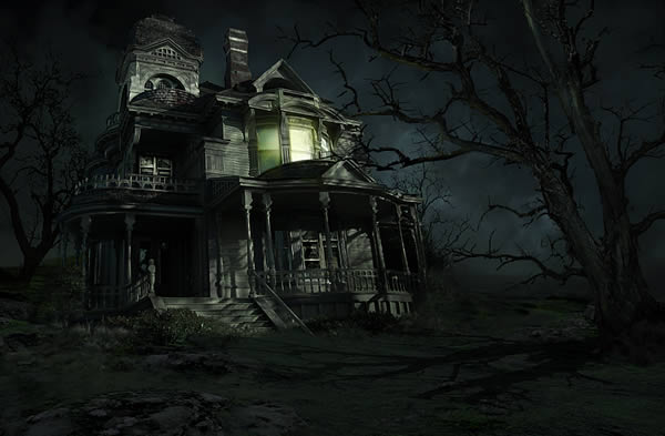 Drawn haunted house realistic Scene foreboding Photoshop give about