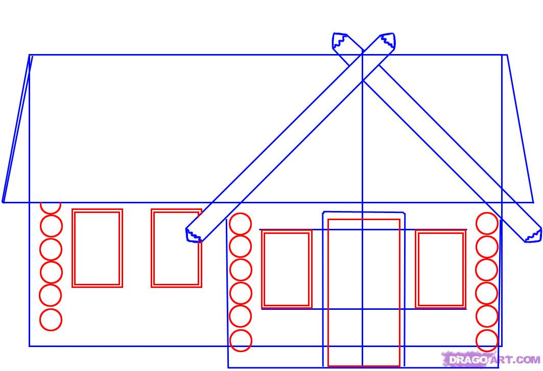 Drawn haunted house step by step Easy log Simple house House