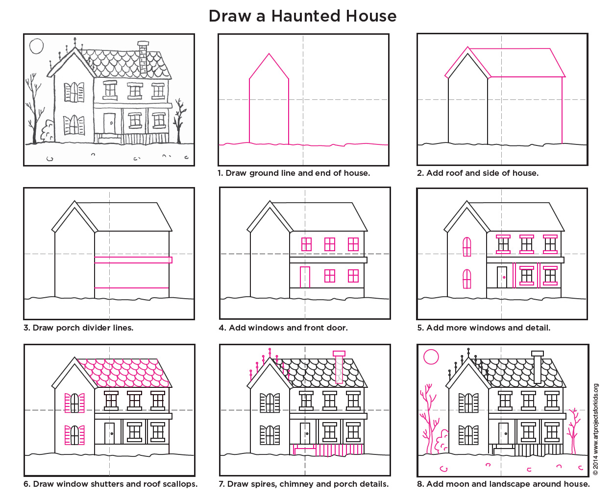 Drawn haunted house step by step Haunted Draw Art Haunted for