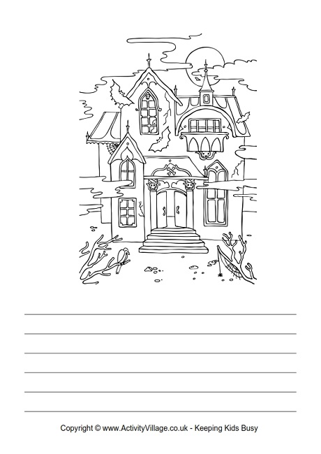 Drawn haunted house step by step Story Activity Halloween Haunted Holidays
