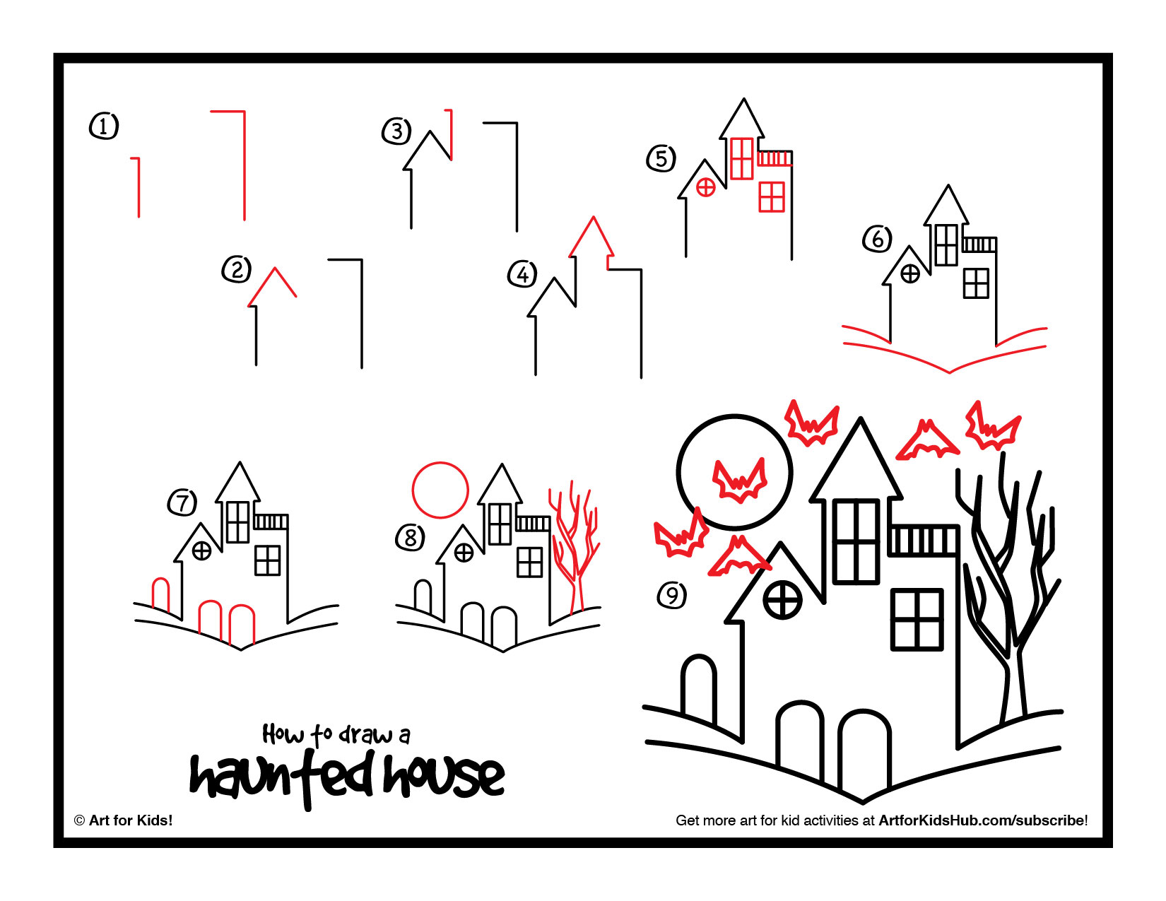 Drawn haunted house step by step How house  Search Google