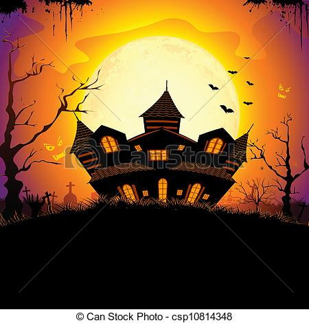 Drawn haunted house vector  house haunted Royalty illustration