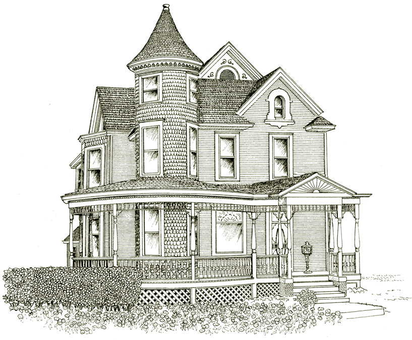 Drawn building old victorian house Google house line Google house