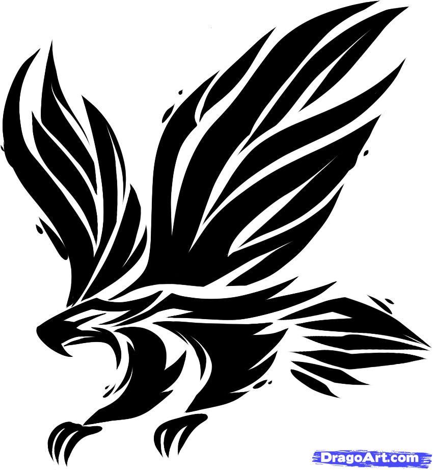Drawn hawk A Step Tribal hawk a