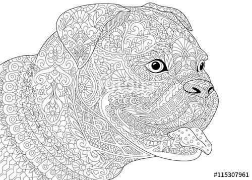 Drawn hawk german Boxer isolated isolated stylized dog