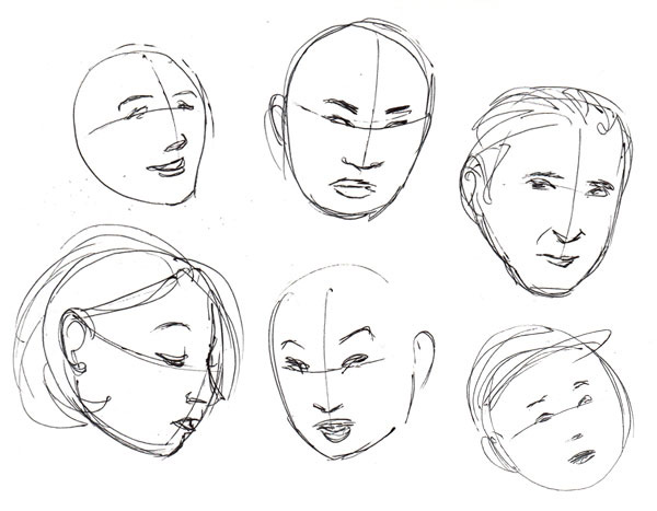 Drawn head anatomical Fundamentals: challenging case!) and